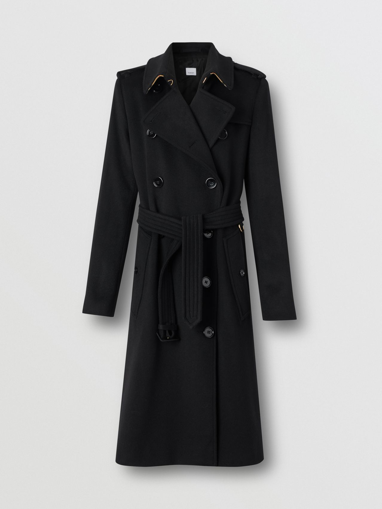 Trench coat em cashmere regenerado in Preto