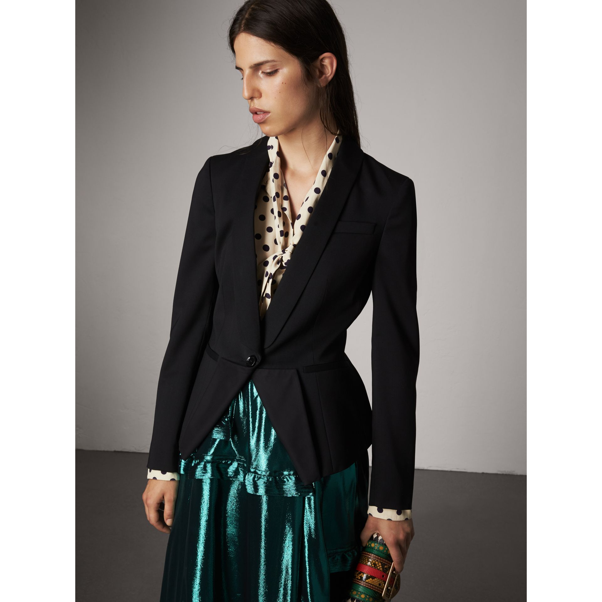 Cinched-waist Cotton Twill Tailored Jacket in Black - Women | Burberry - gallery image 5