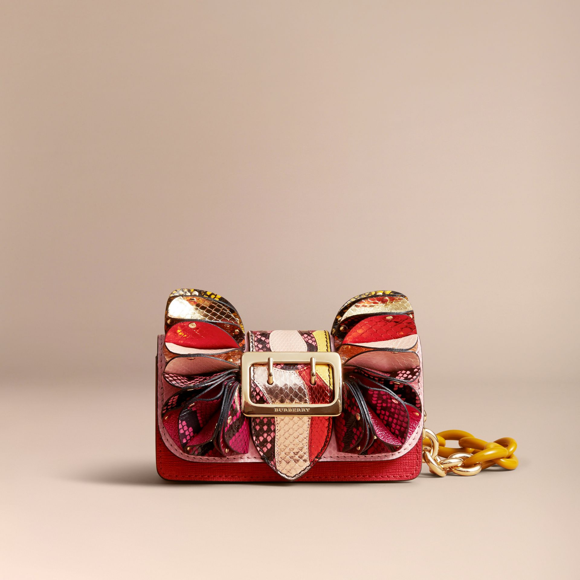 The Ruffle Buckle Bag in Snakeskin and Calf Leather - gallery image 9