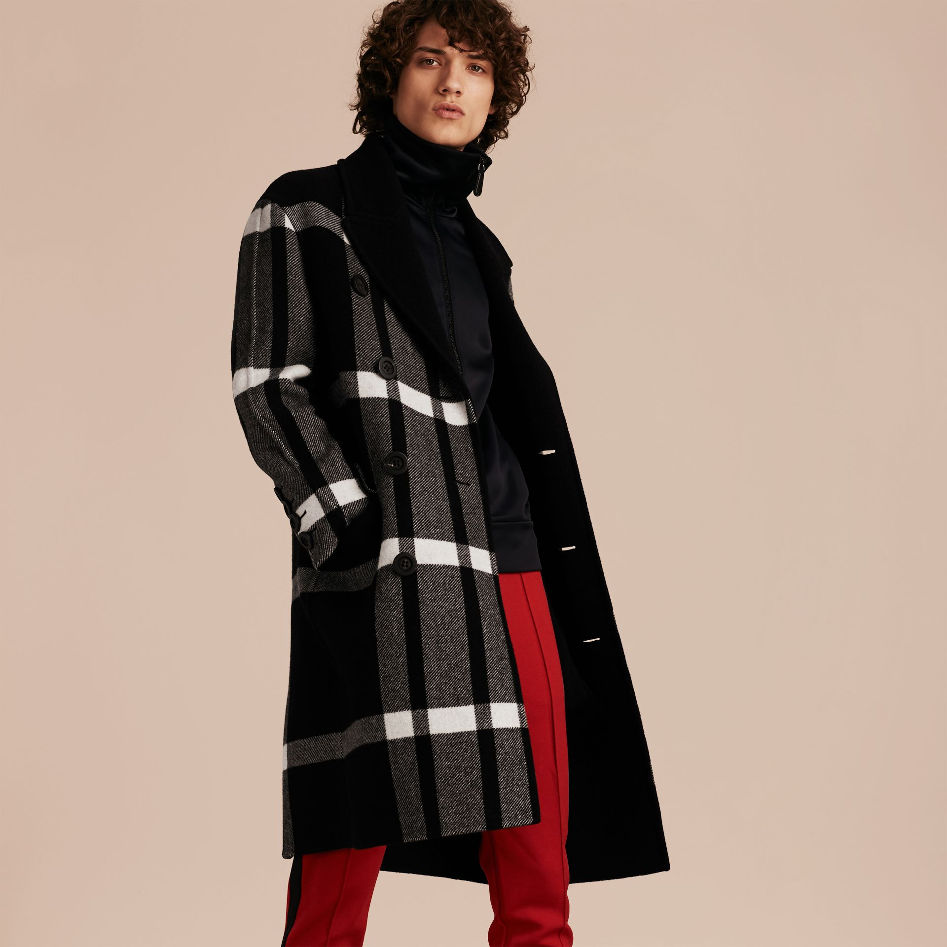 Black Double-breasted Check Wool Cashmere Coat - gallery image 7