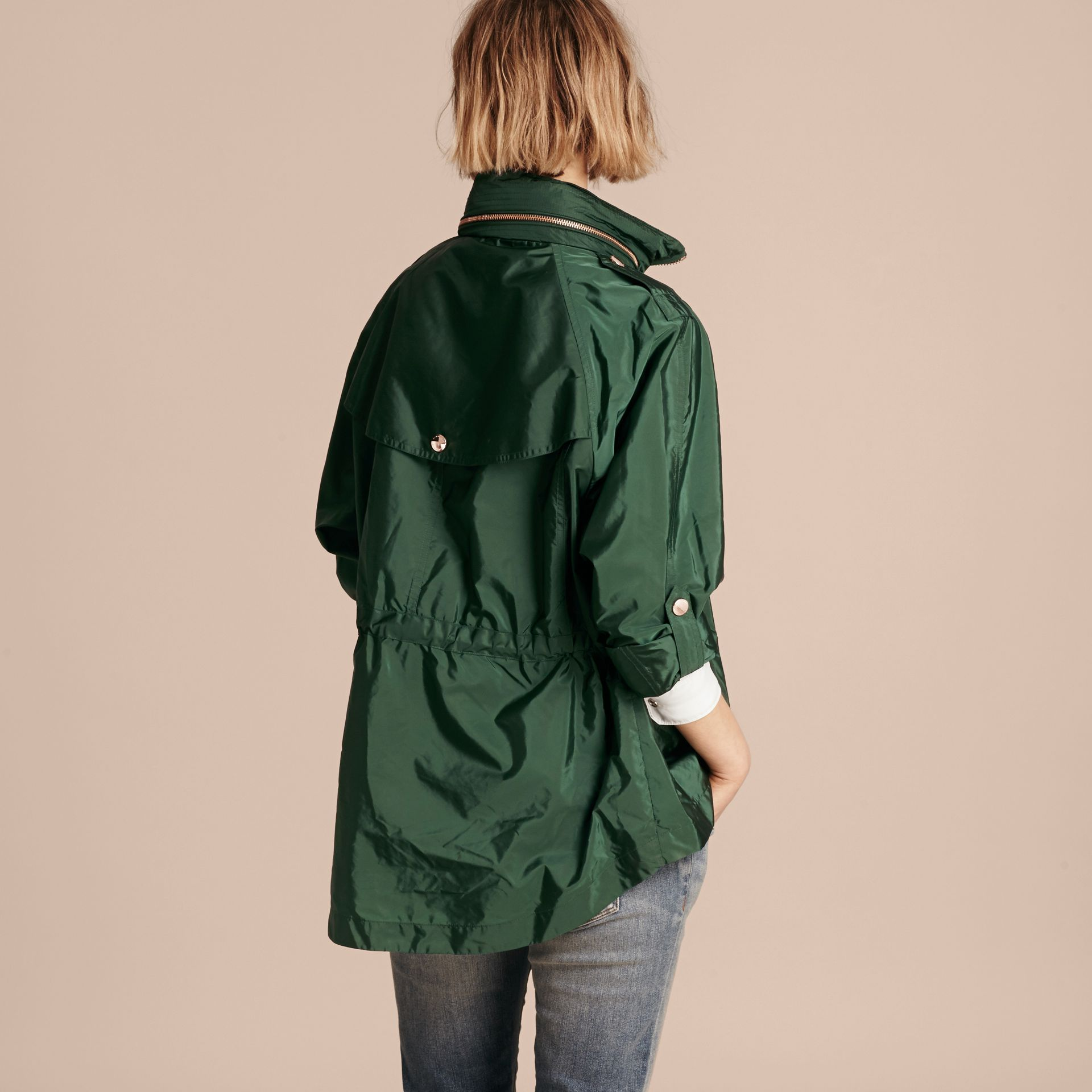 Deep bottle green Showerproof Parka Jacket with Packaway Hood Deep Bottle Green - gallery image 3