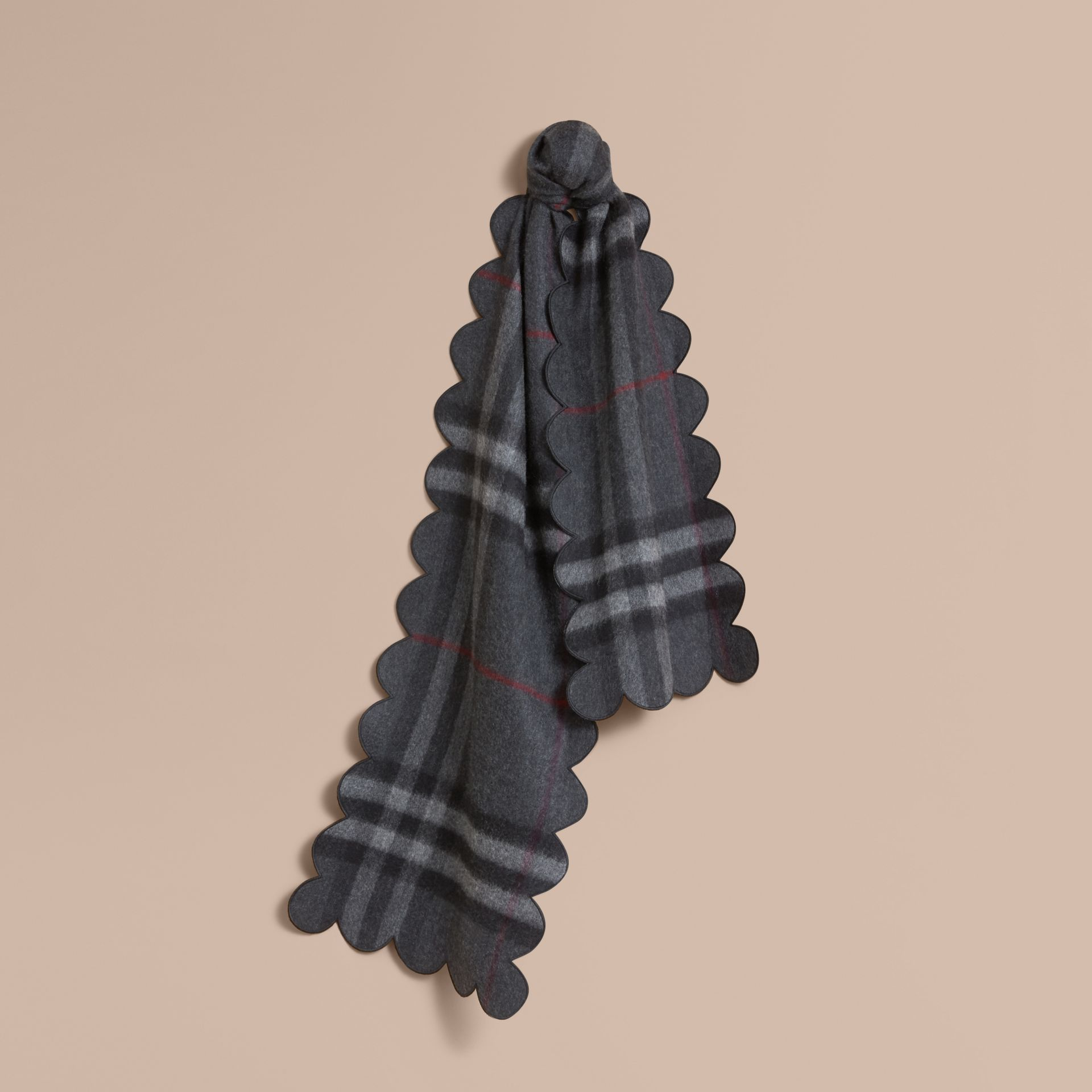 Scalloped Check Cashmere Scarf in Charcoal - gallery image 1