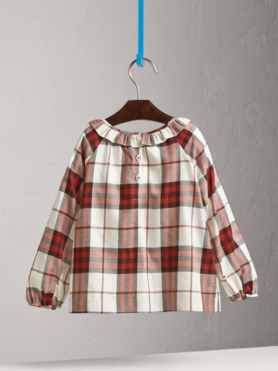 Ruffle Collar Check Cotton Flannel Top in Crimson Red - Girl | Burberry - cell image 3