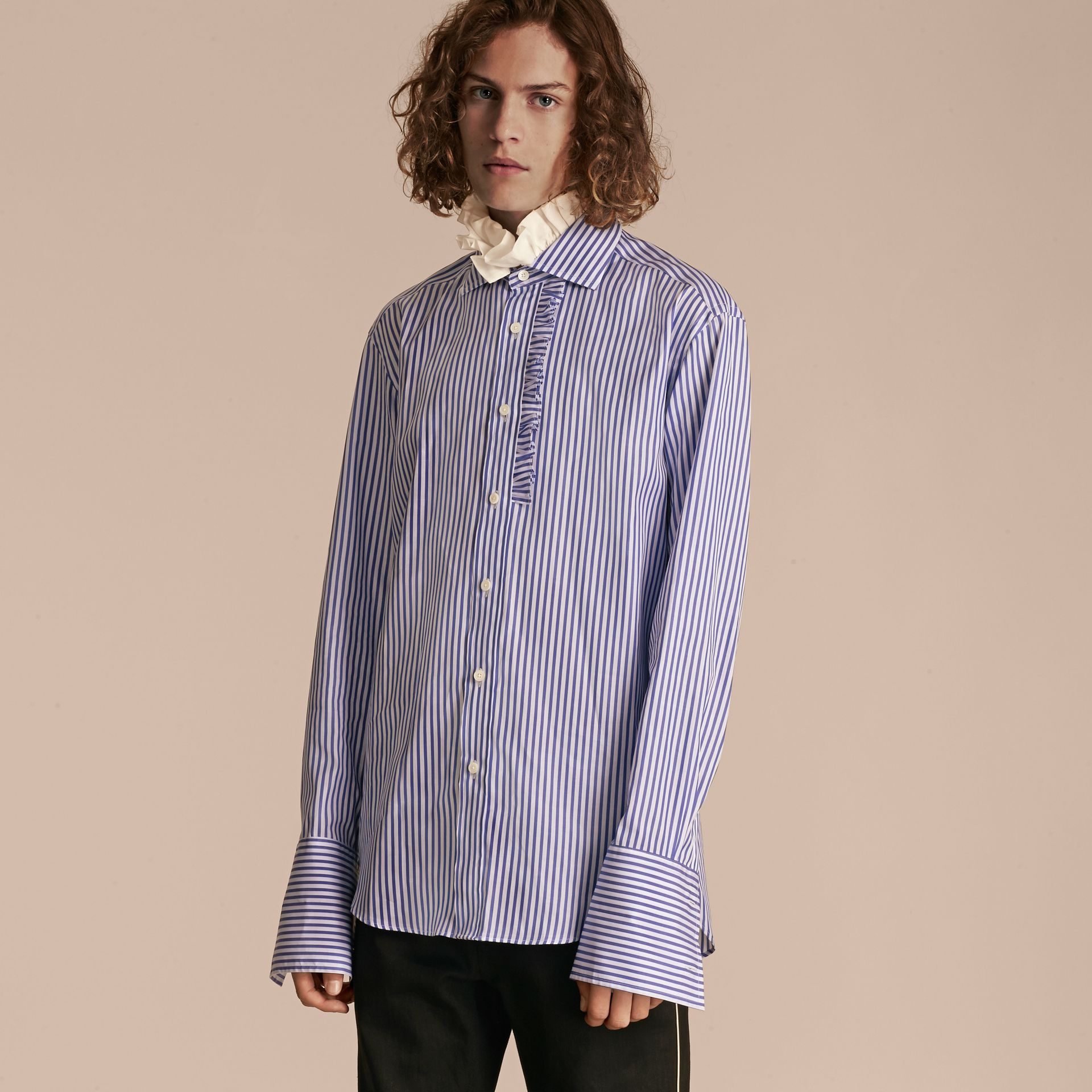 Ruffle Detail Double Cuff Striped Cotton Shirt - gallery image 6
