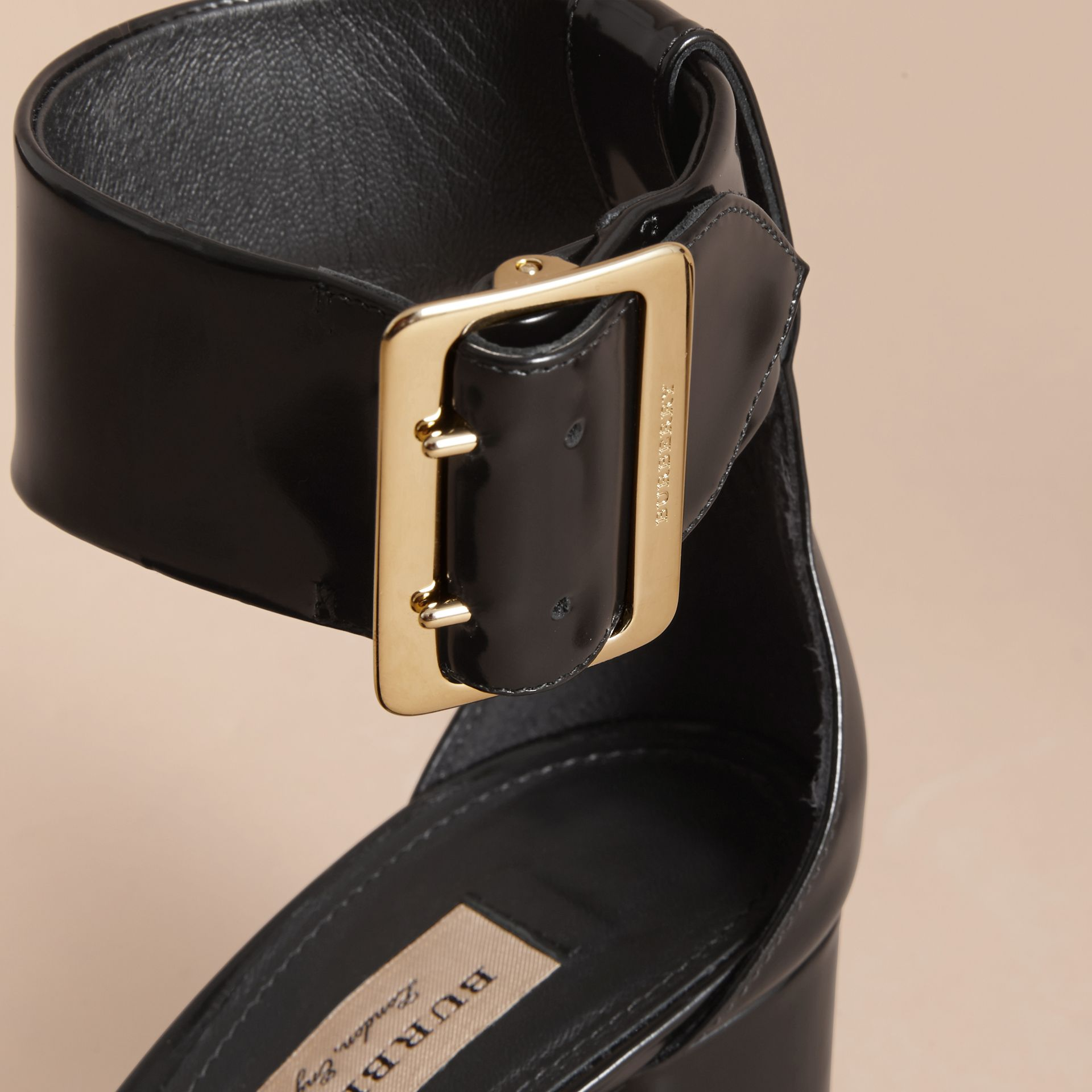 Buckle Detail Patent Leather Sandals in Black - Women | Burberry Australia - gallery image 2