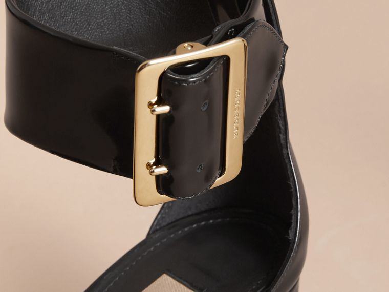 Buckle Detail Patent Leather Sandals in Black - Women | Burberry United States - cell image 1