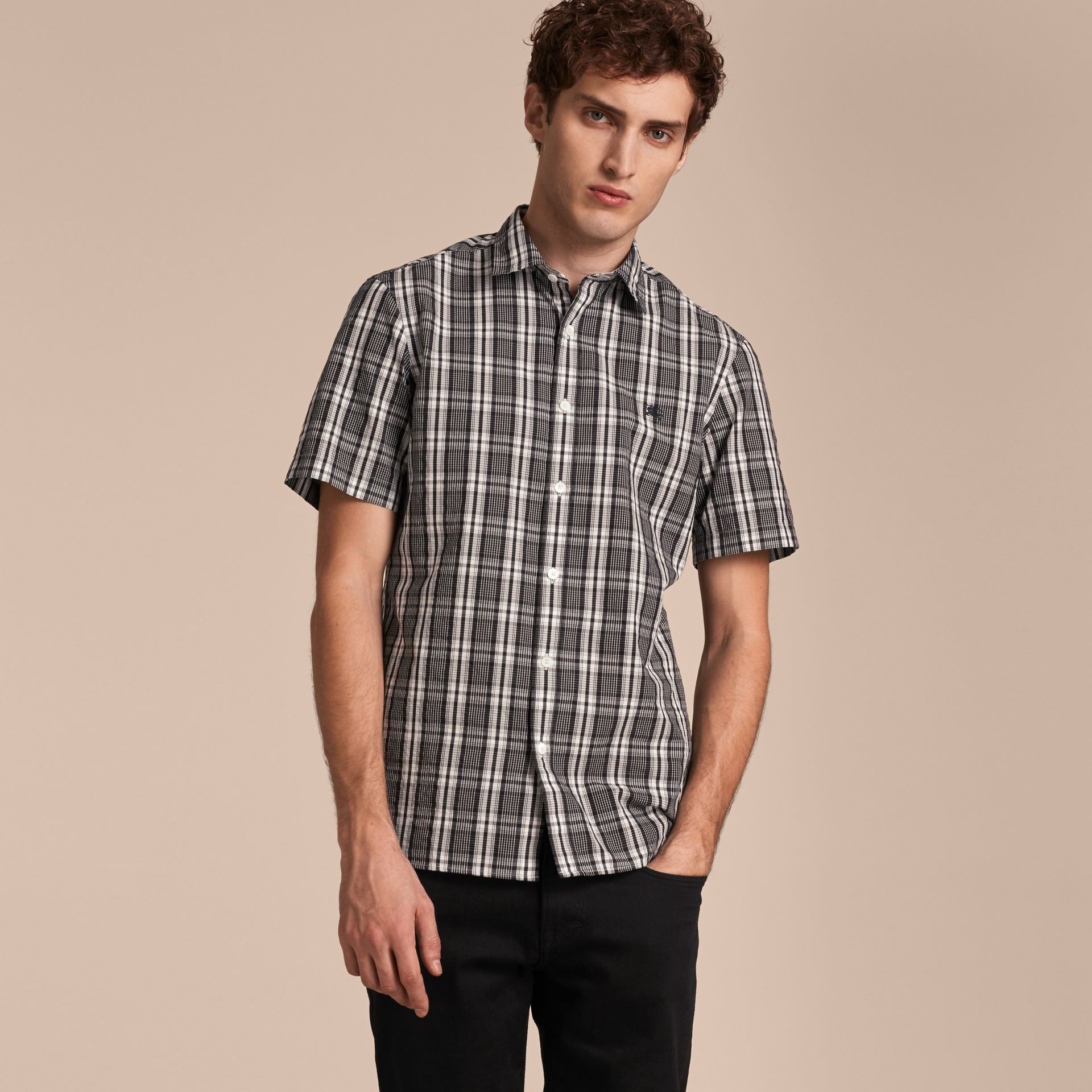 Short-sleeved Check Cotton Poplin Shirt - gallery image 6