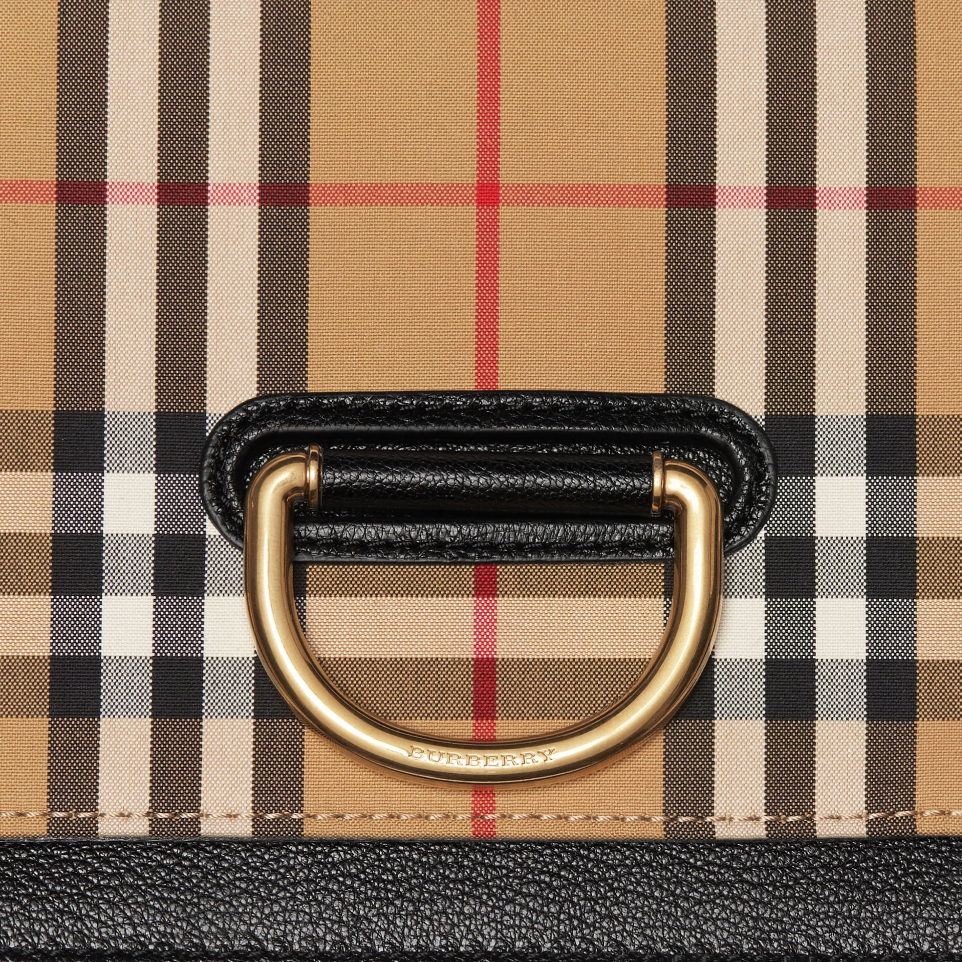The Small Vintage Check and Leather D-ring Bag in Black/antique Yellow - Women | Burberry United States - gallery image 1