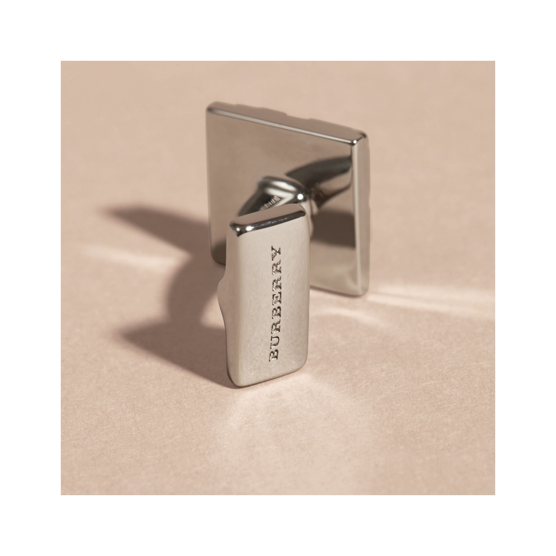 Check-engraved Square Cufflinks in Silver - Men | Burberry Singapore - gallery image 3