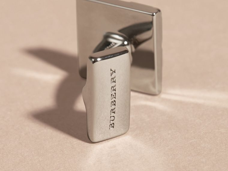 Check-engraved Square Cufflinks in Silver - Men | Burberry Hong Kong - cell image 2