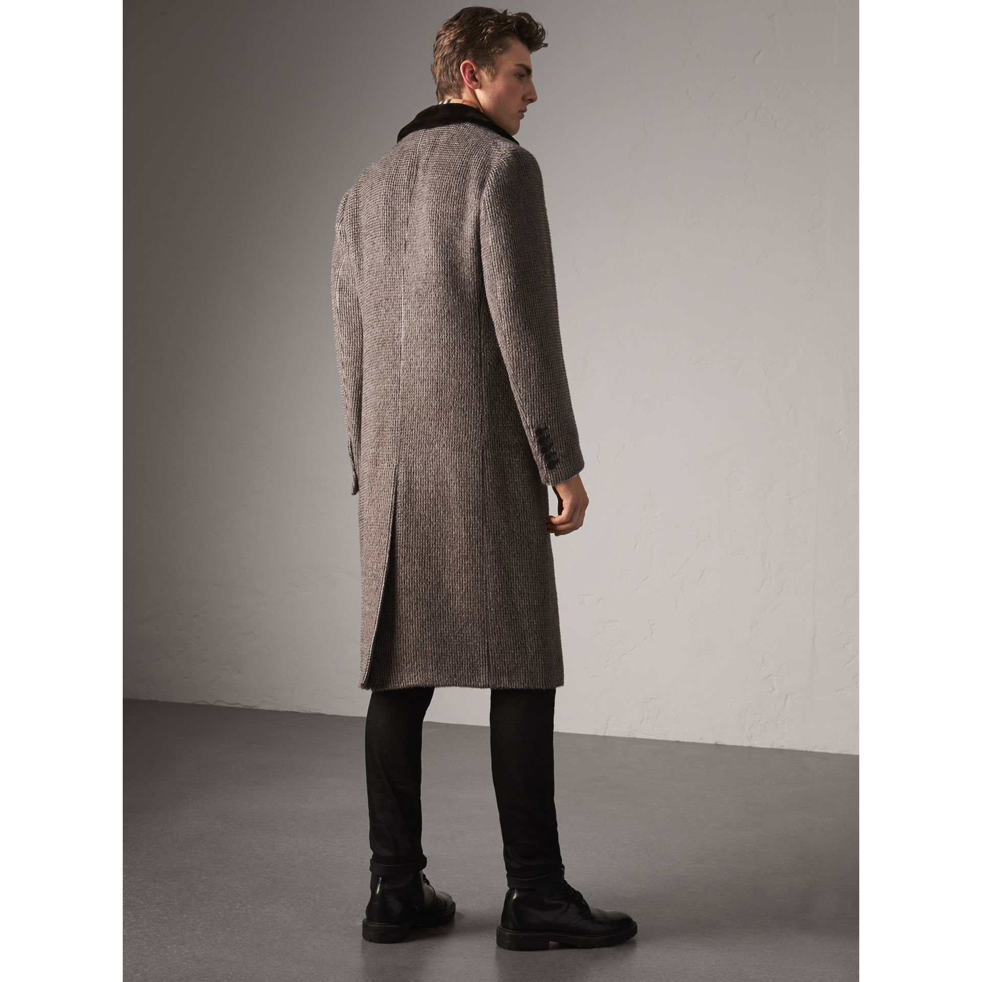 Detachable Mink Collar Alpaca Wool Tailored Coat in Dark Brown - Men | Burberry - gallery image 3