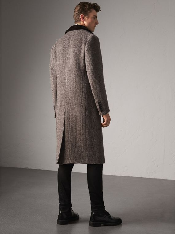 Detachable Mink Collar Alpaca Wool Tailored Coat in Dark Brown - Men | Burberry - cell image 2