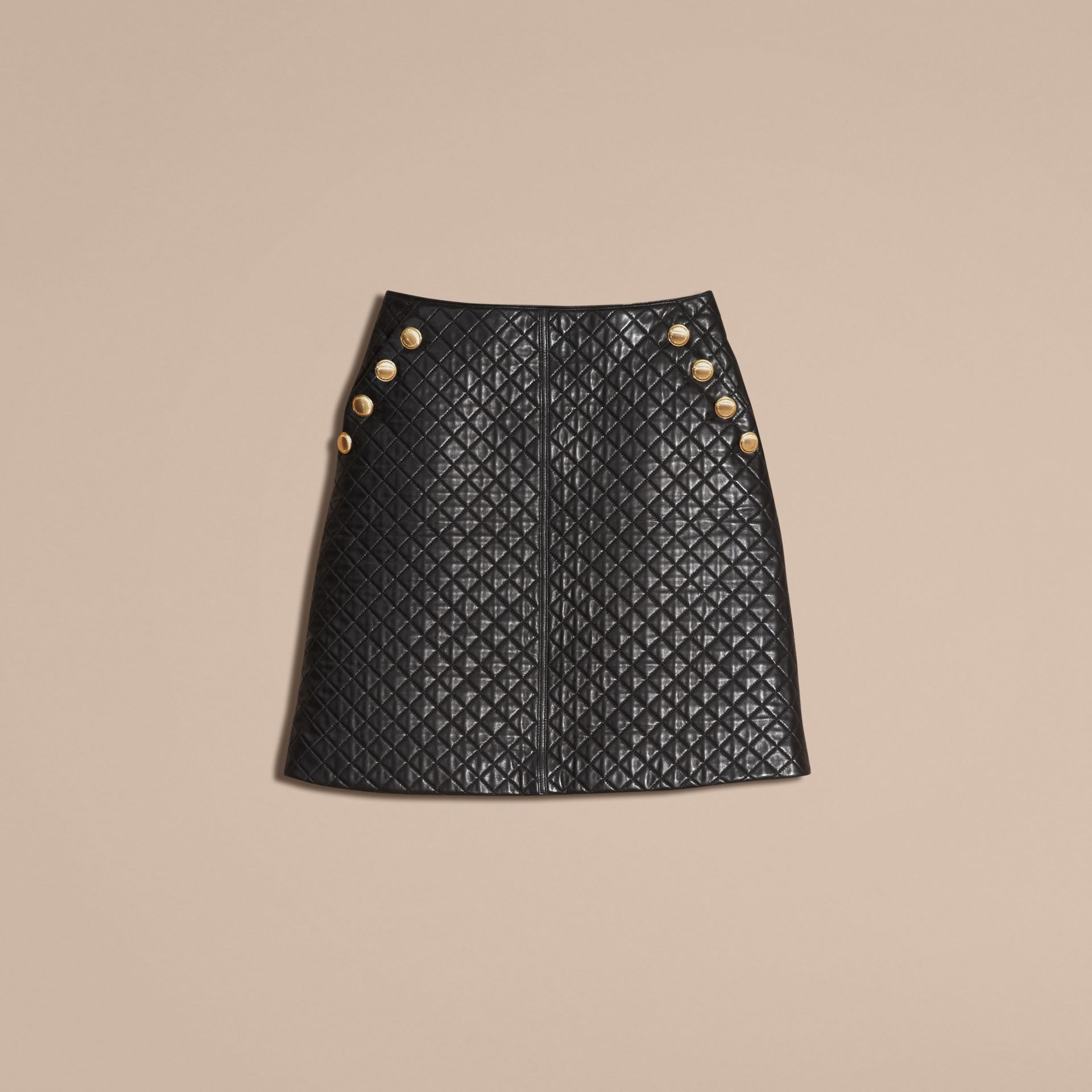 Black Quilted Lambskin A-Line Skirt - gallery image 4