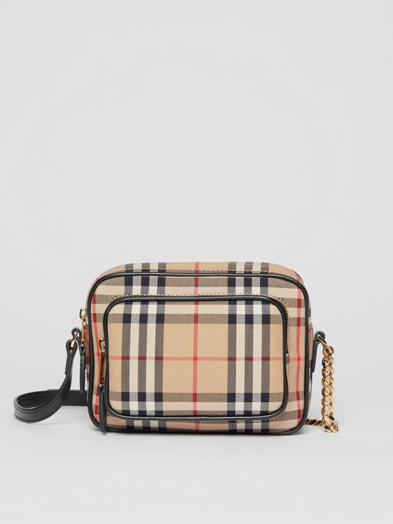 Camera bag in cotone con motivo Vintage check (Beige Archivio)