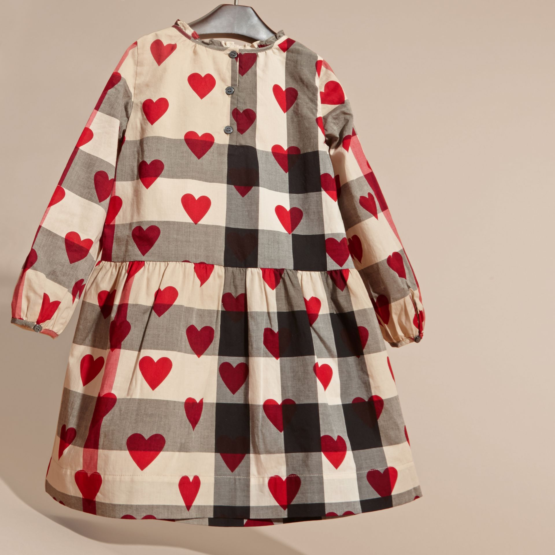 Parade red Check and Heart Print Cotton Tunic Dress - gallery image 4