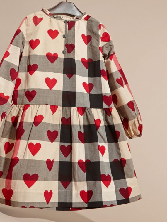 Parade red Check and Heart Print Cotton Tunic Dress - cell image 3