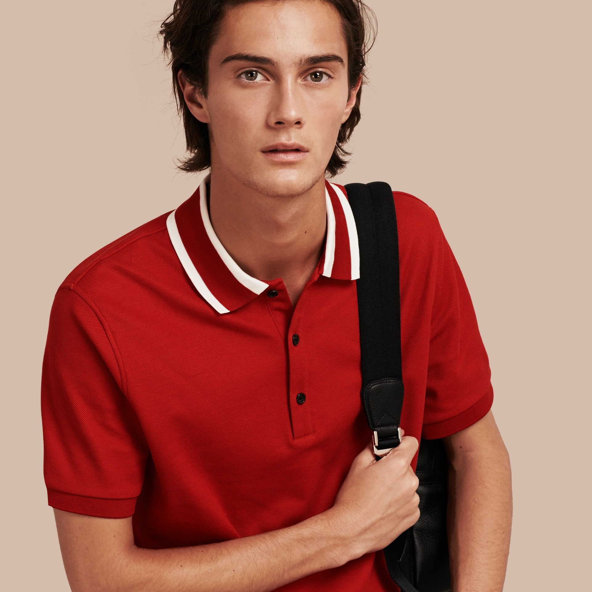 Striped Collar Cotton Piqué Polo Shirt Uniform Red - gallery image 1