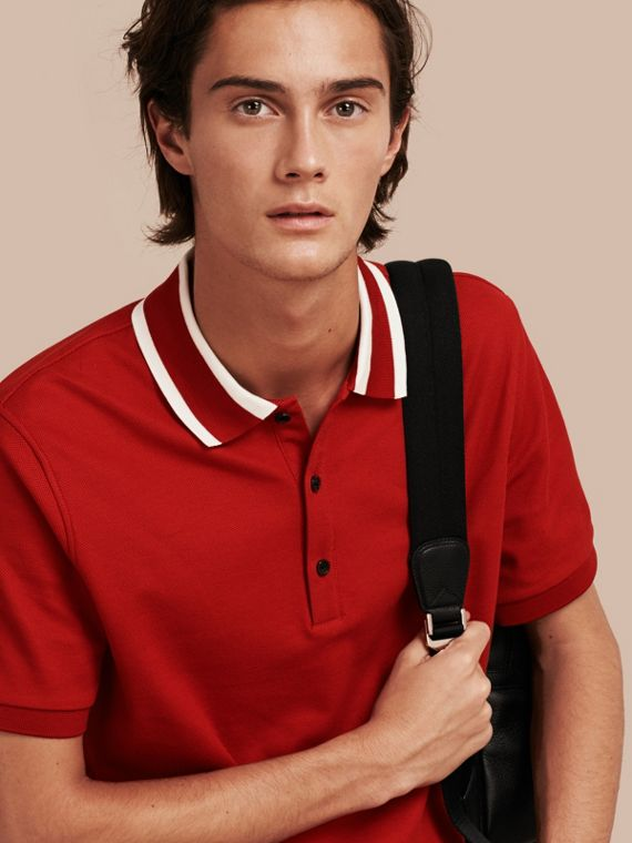 Striped Collar Cotton Piqué Polo Shirt Uniform Red