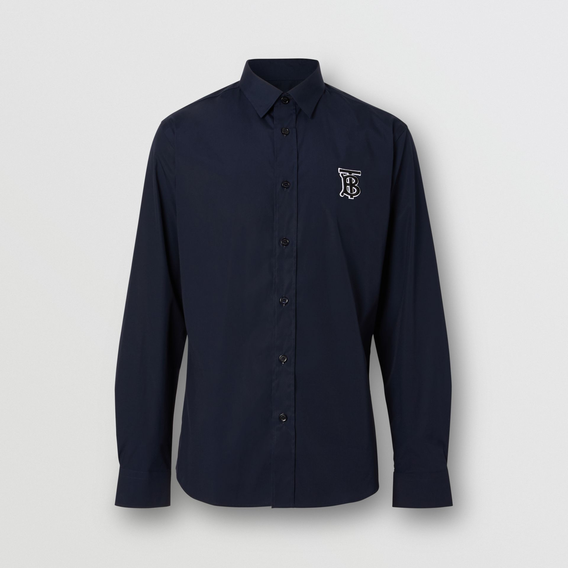 Monogram Motif Stretch Cotton Poplin Shirt in Navy - Men | Burberry United Kingdom - gallery image 3