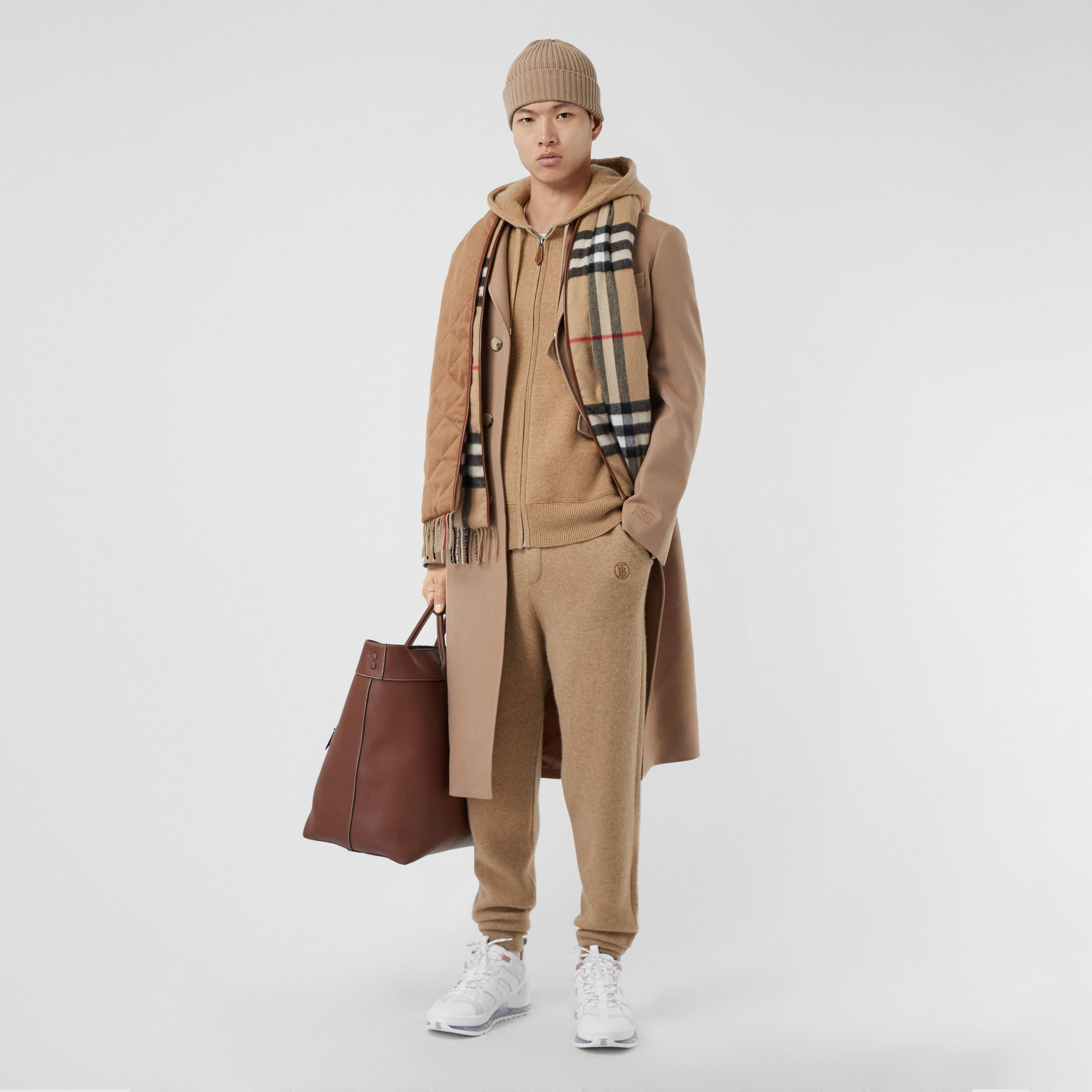 Monogram Motif Cashmere Blend Trackpants in Pale Coffee - Men | Burberry Canada - 1