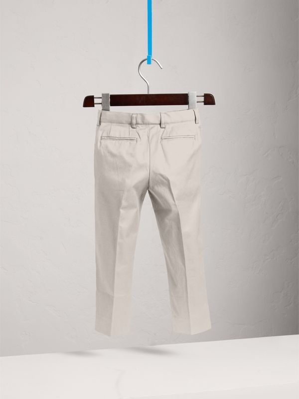Tailored Stretch Cotton Trousers in Stone - Children | Burberry - cell image 3