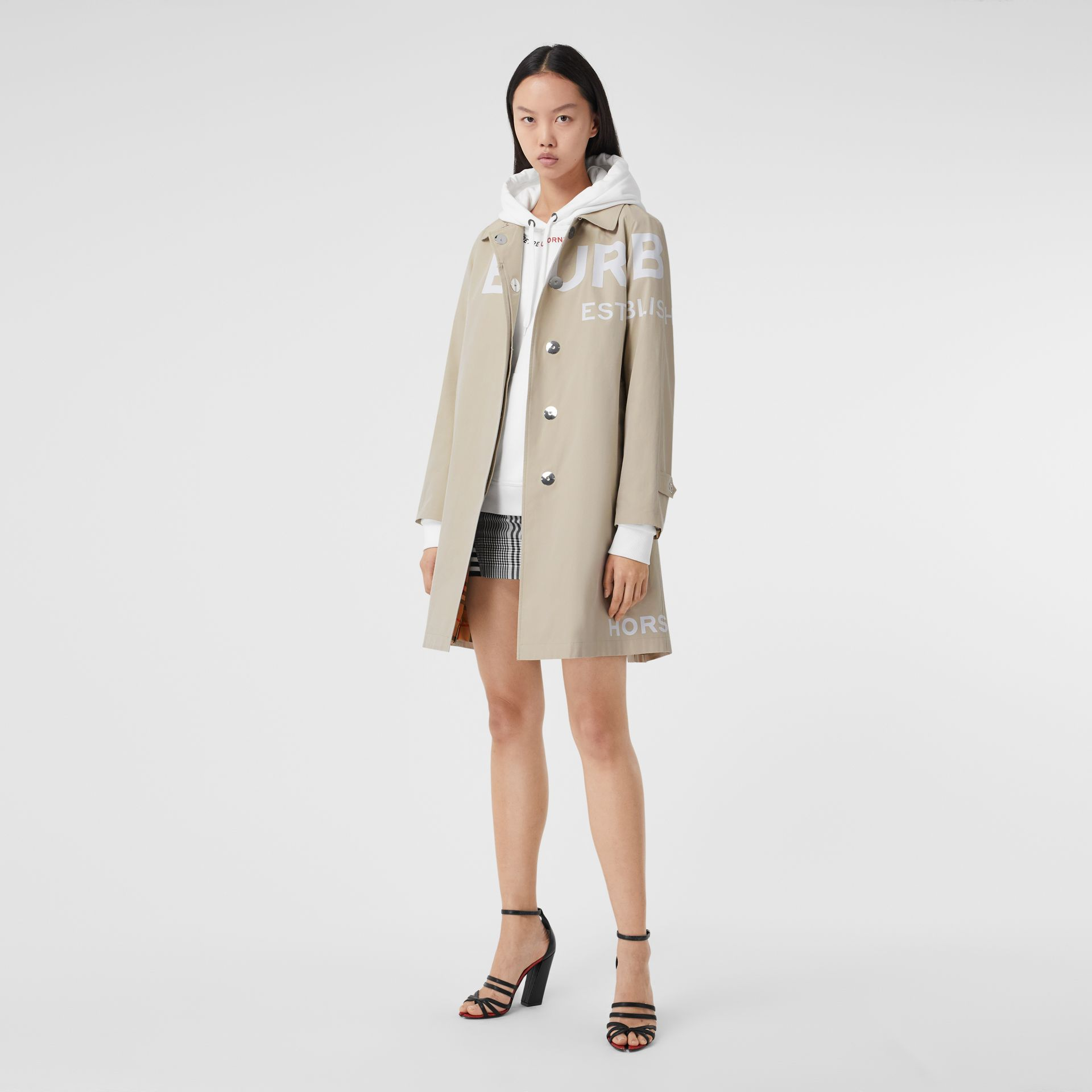 Horseferry Print Cotton Gabardine Car Coat in Stone - Women | Burberry - gallery image 0
