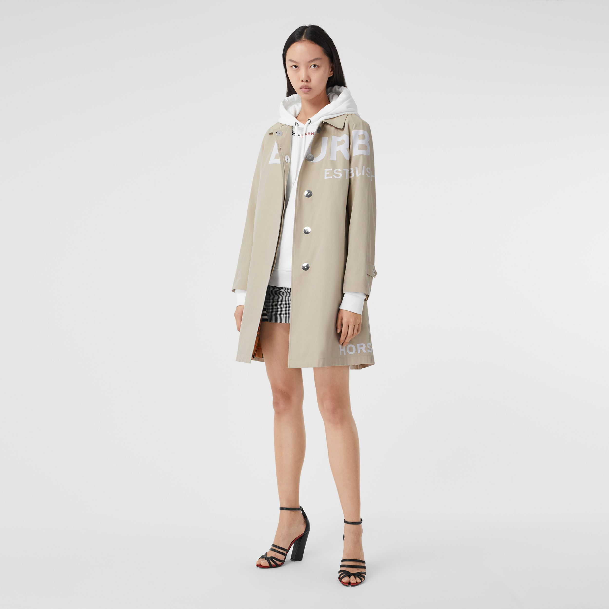 Horseferry Print Cotton Gabardine Car Coat in Stone - Women | Burberry - 1