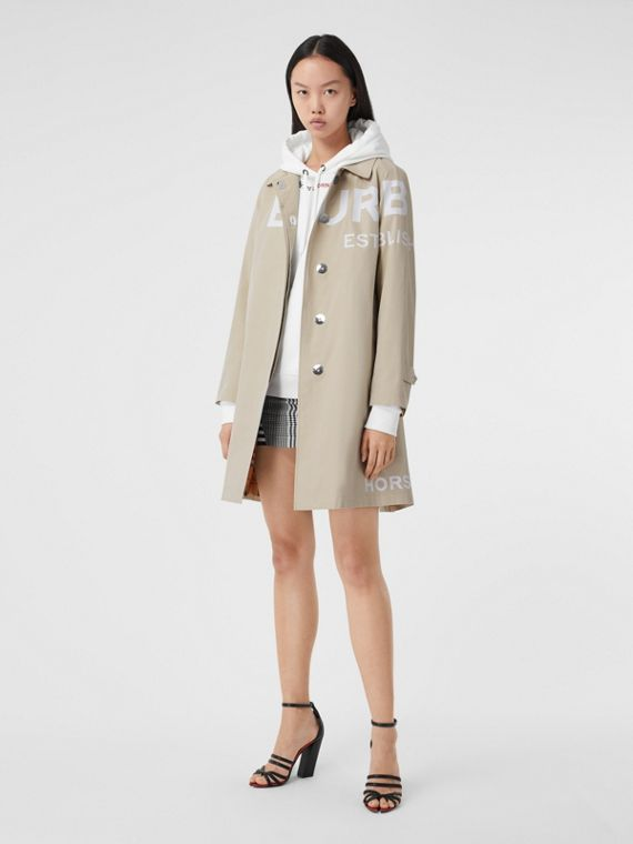Horseferry Print Cotton Gabardine Car Coat in Stone