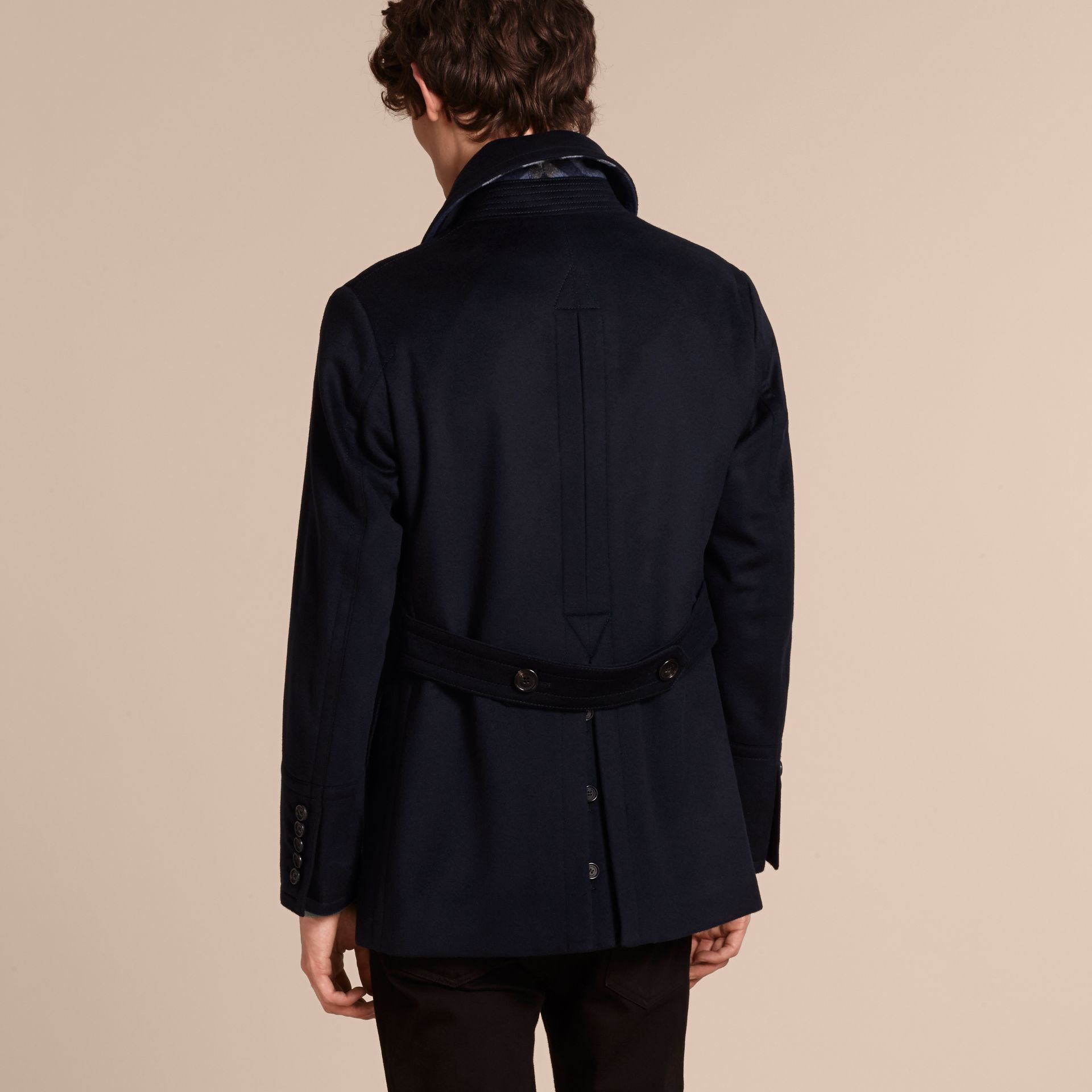 Wool Cashmere Pea Coat in Navy - gallery image 3