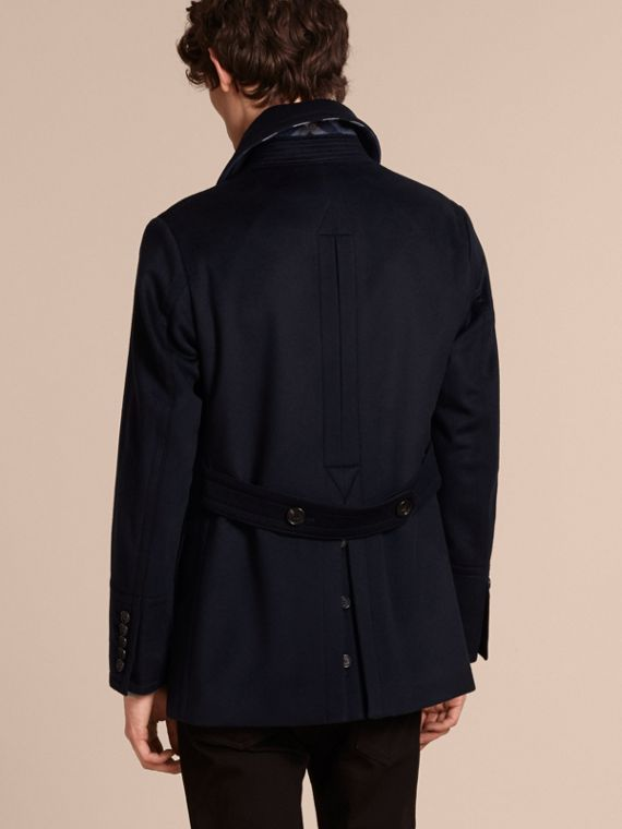Navy Pea coat in lana e cashmere Navy - cell image 2