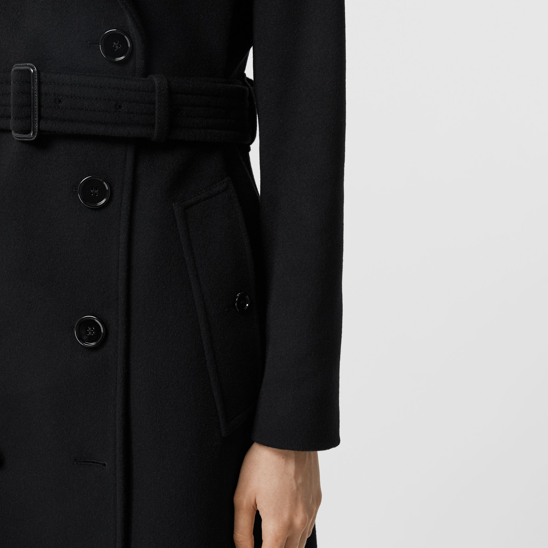 Cashmere Trench Coat in Black - Women | Burberry - gallery image 4