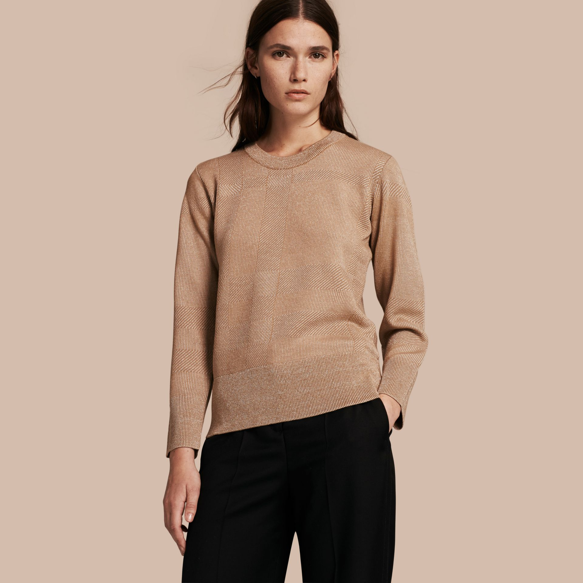 Camel Check Merino Wool and Metallic Sweater - gallery image 1