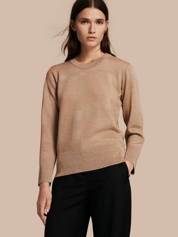 Check Merino Wool and Metallic Sweater
