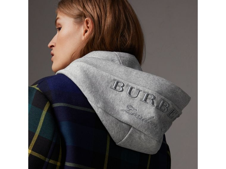 Embroidered Hood Fleece-back Jersey Sweatshirt in Pale Grey Melange - Women | Burberry United Kingdom - cell image 1