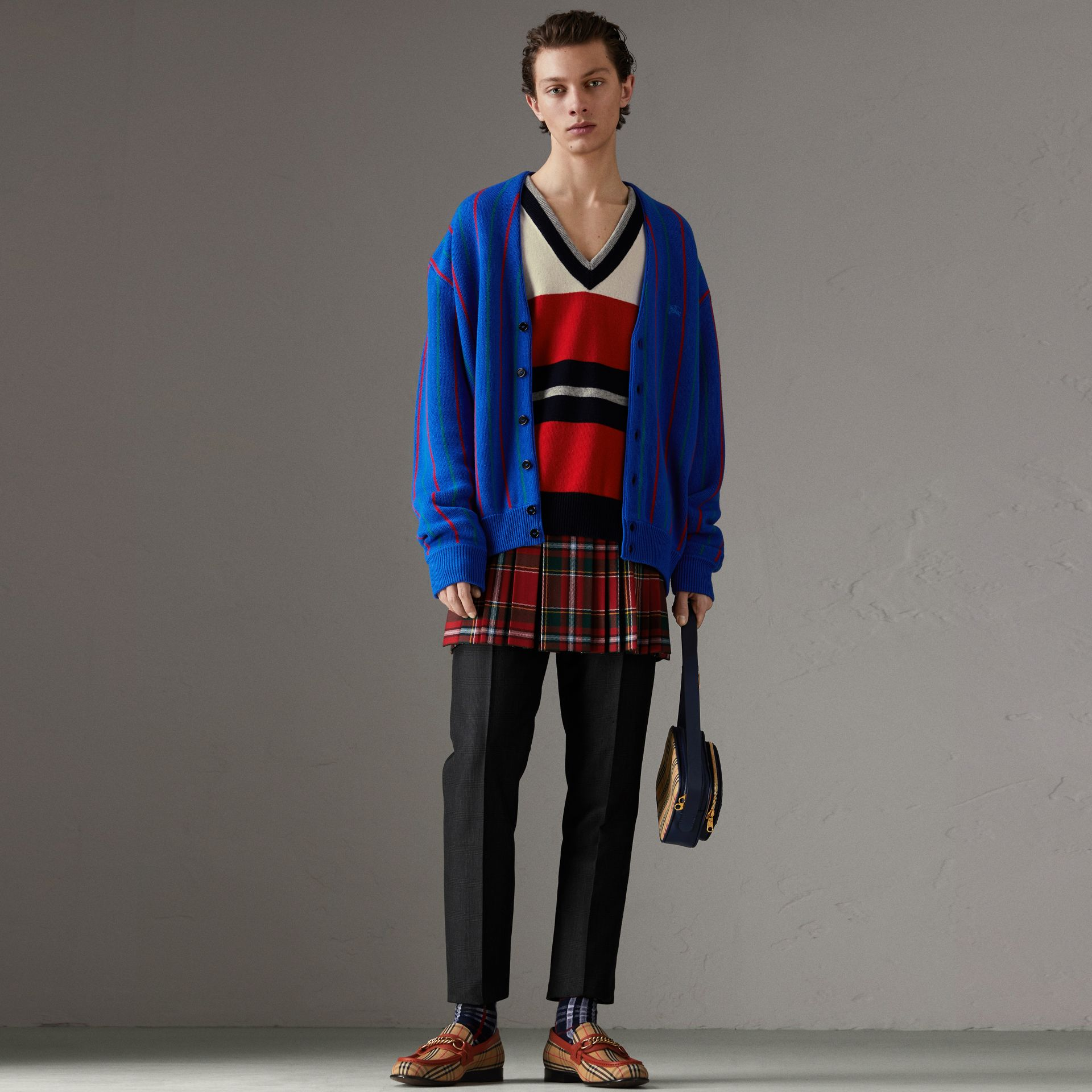 Reissued Striped Lambswool Sweater in Red/white - Men | Burberry - gallery image 0