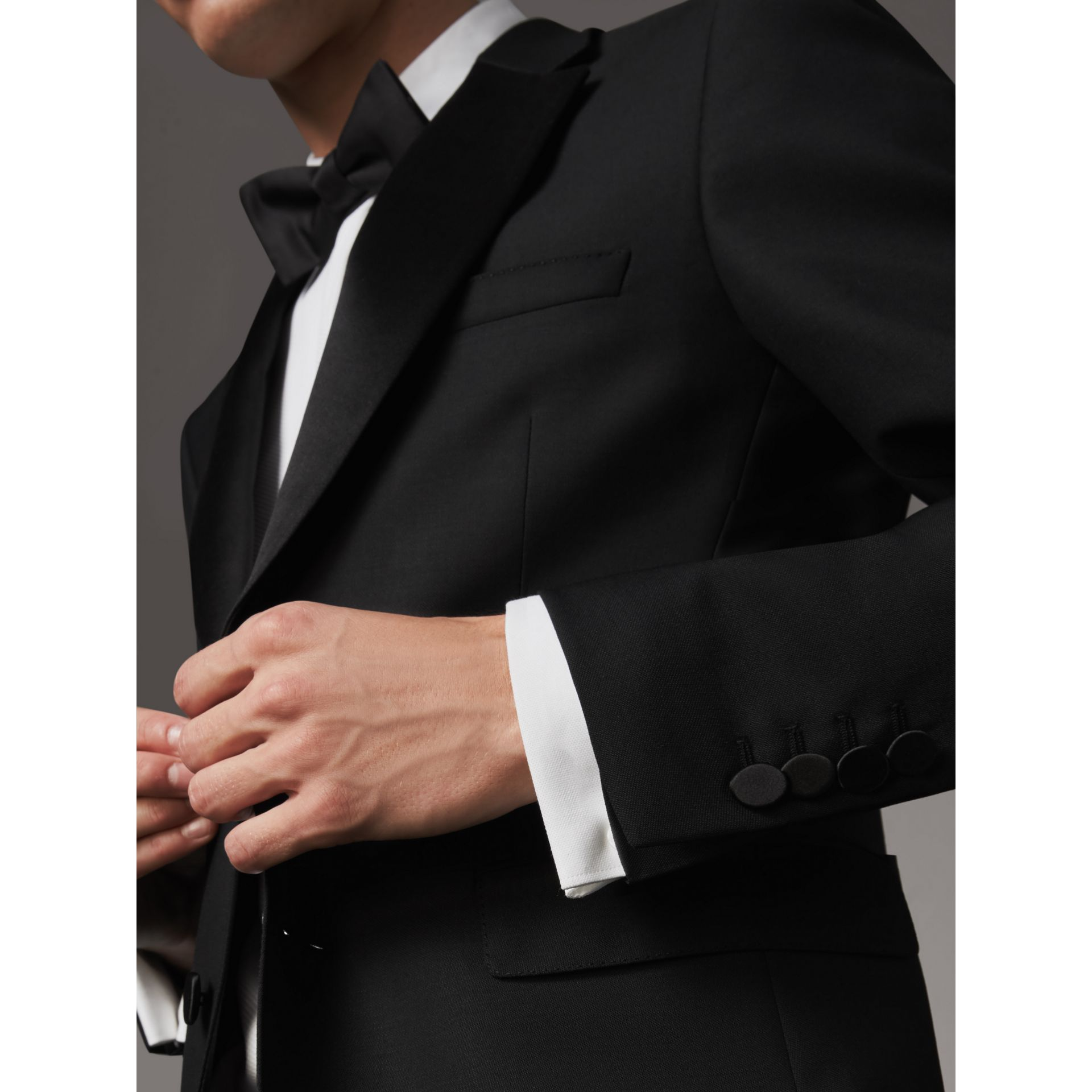 Modern Fit Wool Mohair Half-canvas Tuxedo in Black - Men | Burberry Australia - gallery image 6