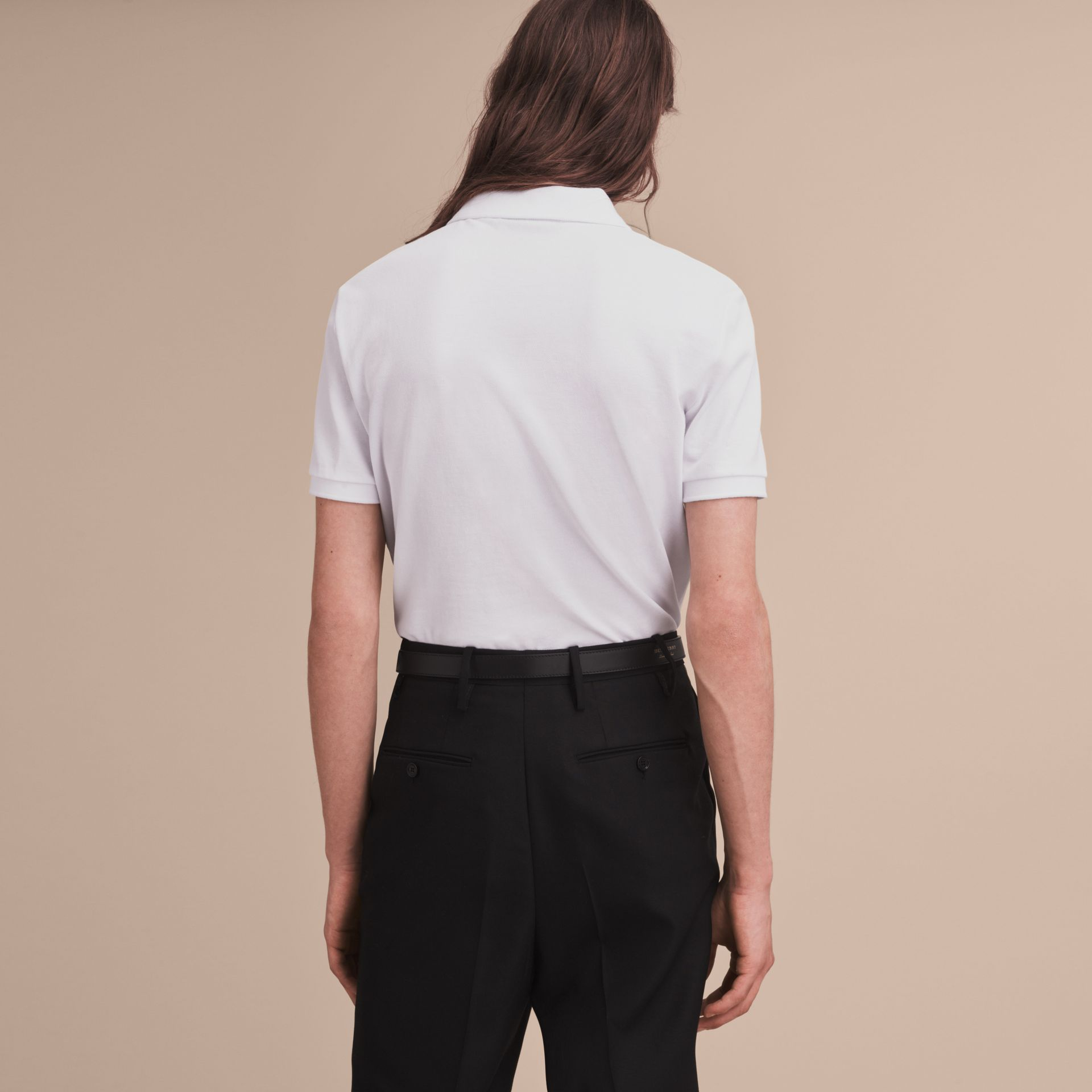 Pallas Heads Appliqué Cotton Polo Shirt in White - Men | Burberry Singapore - gallery image 3