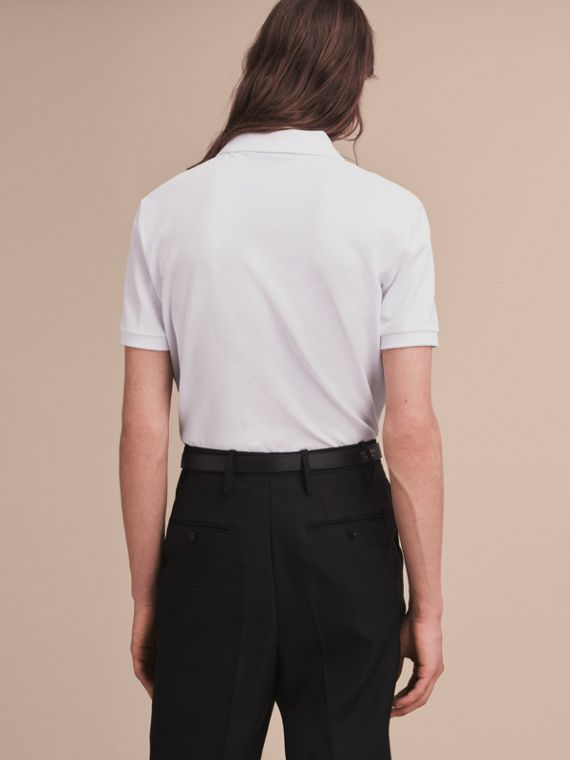 Pallas Heads Appliqué Cotton Polo Shirt in White - Men | Burberry Australia - cell image 2