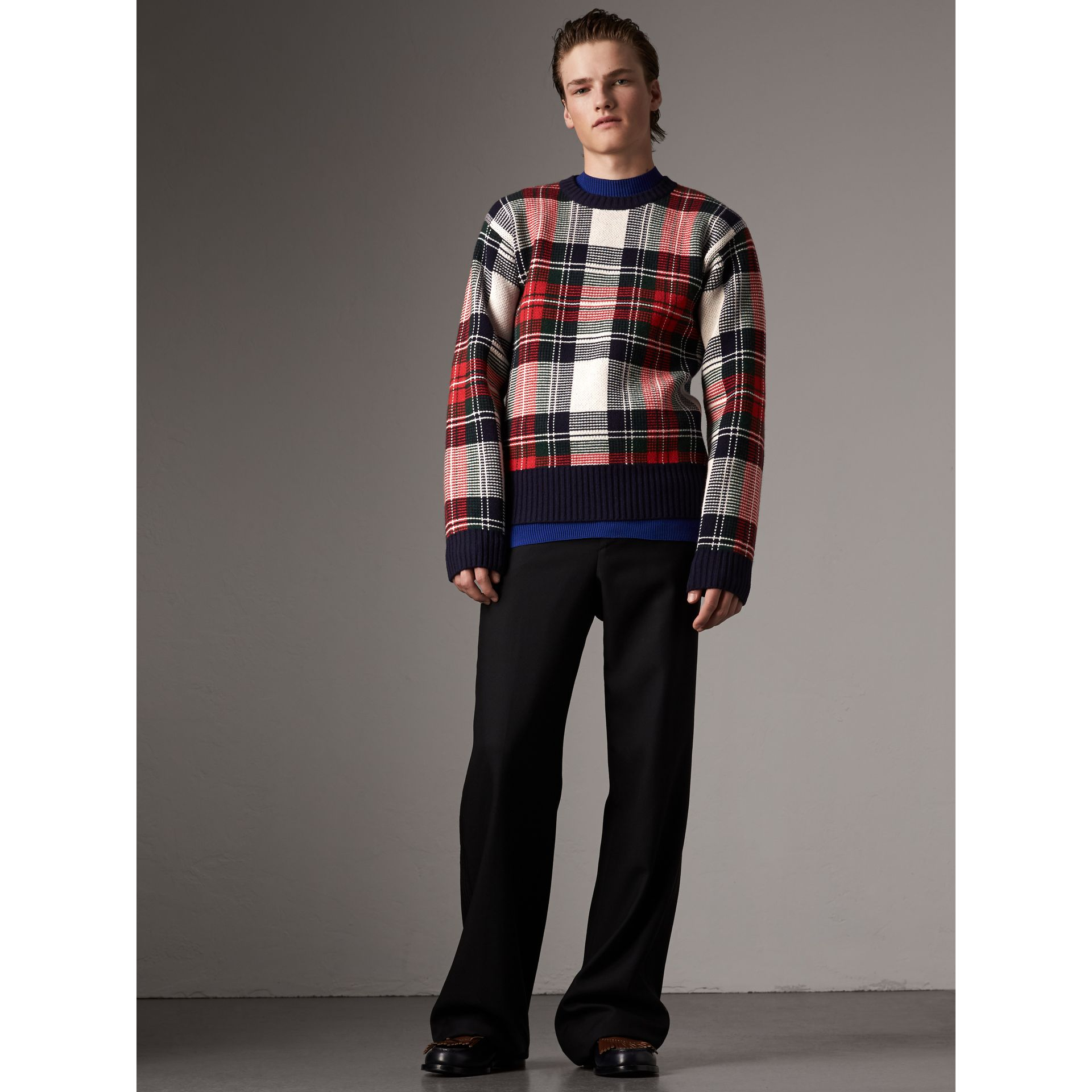 Tartan Cashmere Wool Sweater in Natural White - Men | Burberry - gallery image 0