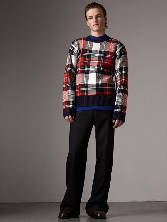 Jersey en cachemir y lana a cuadros escoceses (Blanco Natural)