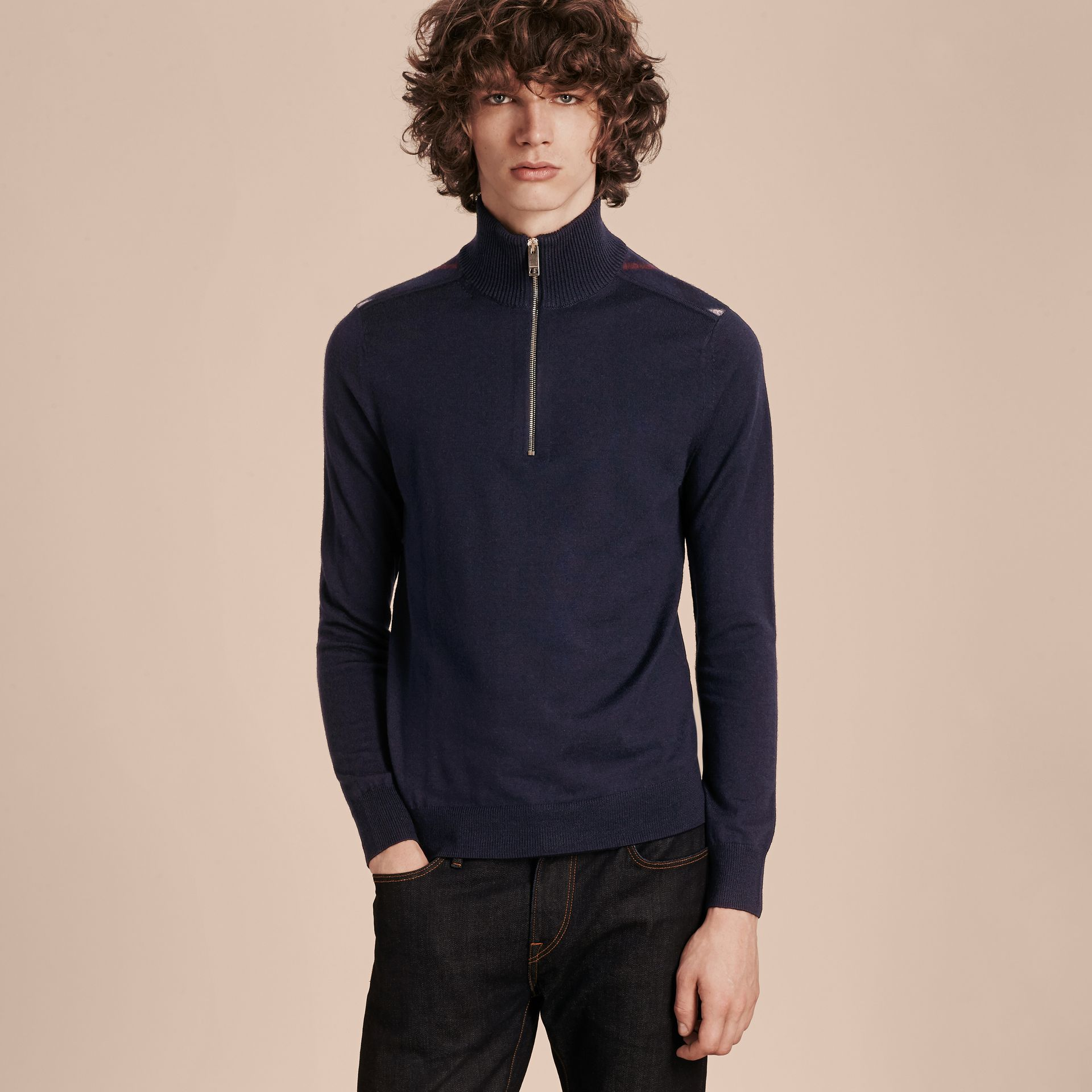 Navy Zip-collar Merino Wool Sweater Navy - gallery image 7