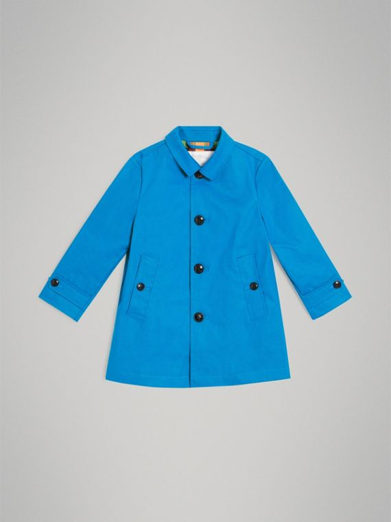 Mercerised Bonded Cotton Car Coat in Bright Blue