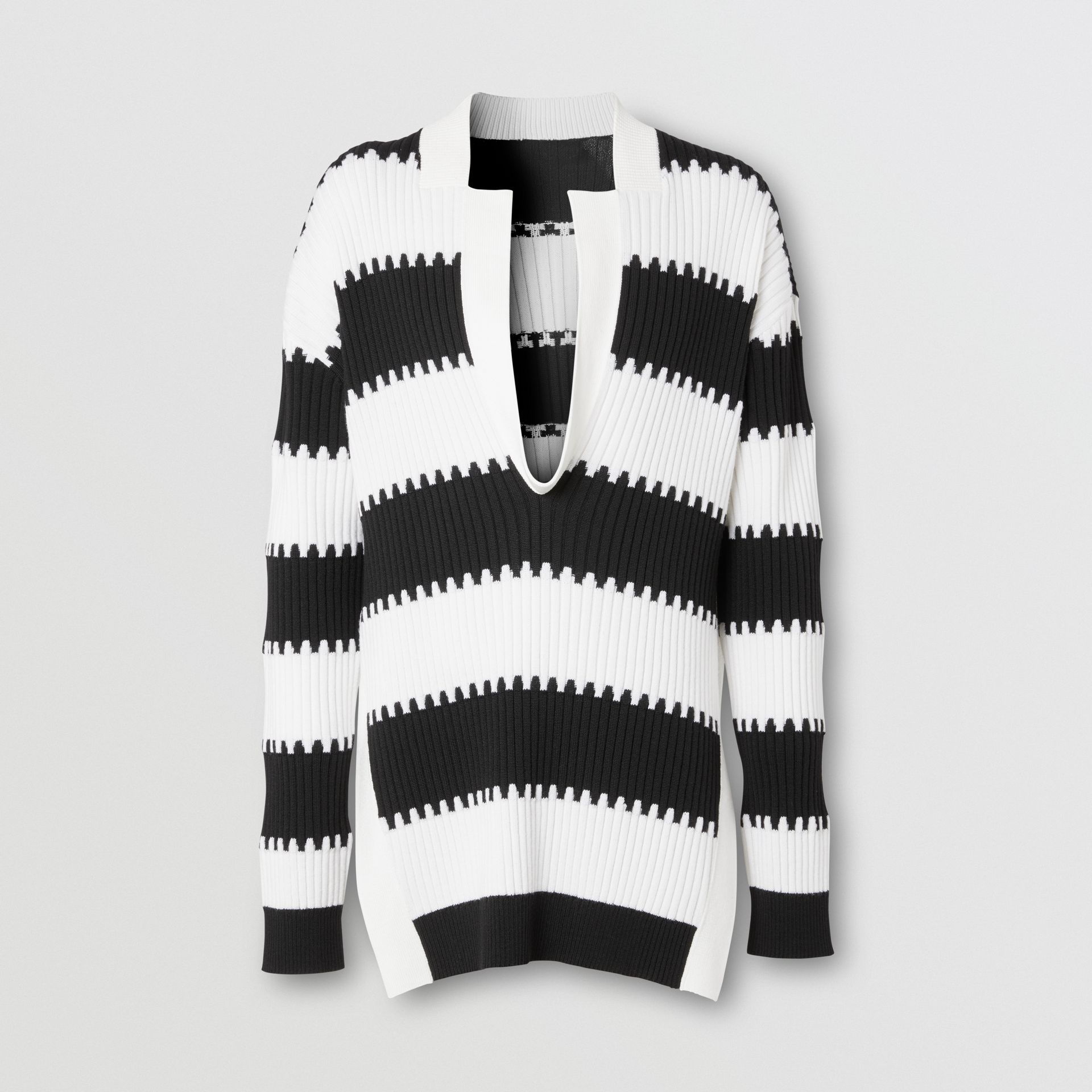 Side-slit Striped Rib Knit Wool Sweater in Black | Burberry - gallery image 3