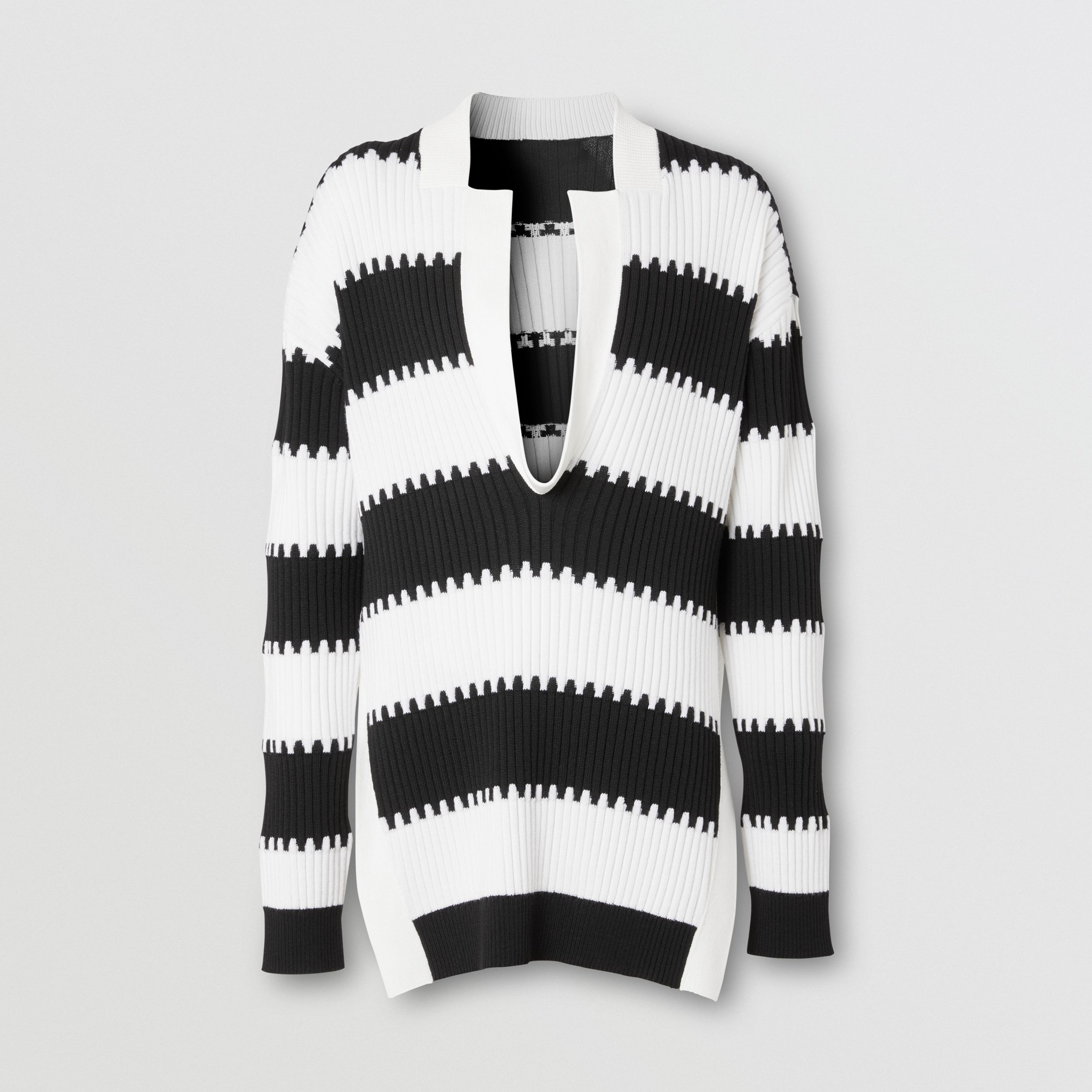 Side-slit Striped Rib Knit Wool Sweater in Black - Men | Burberry - 4