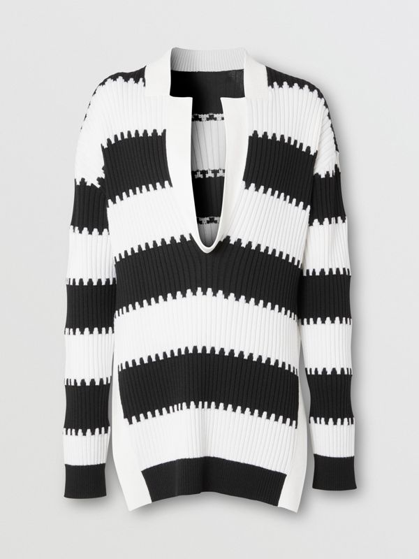 Side-slit Striped Rib Knit Wool Sweater in Black | Burberry - cell image 3