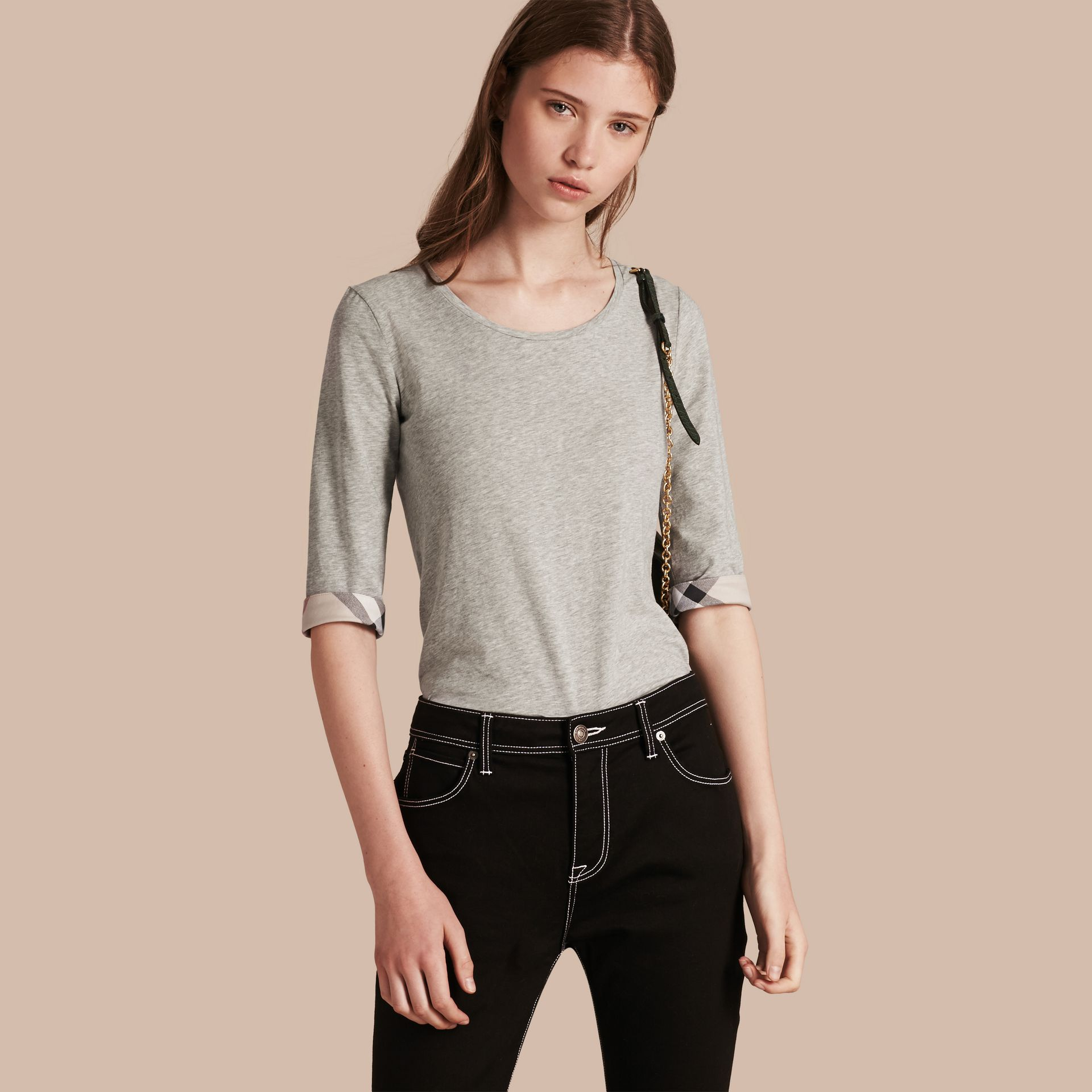 Check Cuff Stretch-Cotton Top in Pale Grey Melange - Women | Burberry - gallery image 1