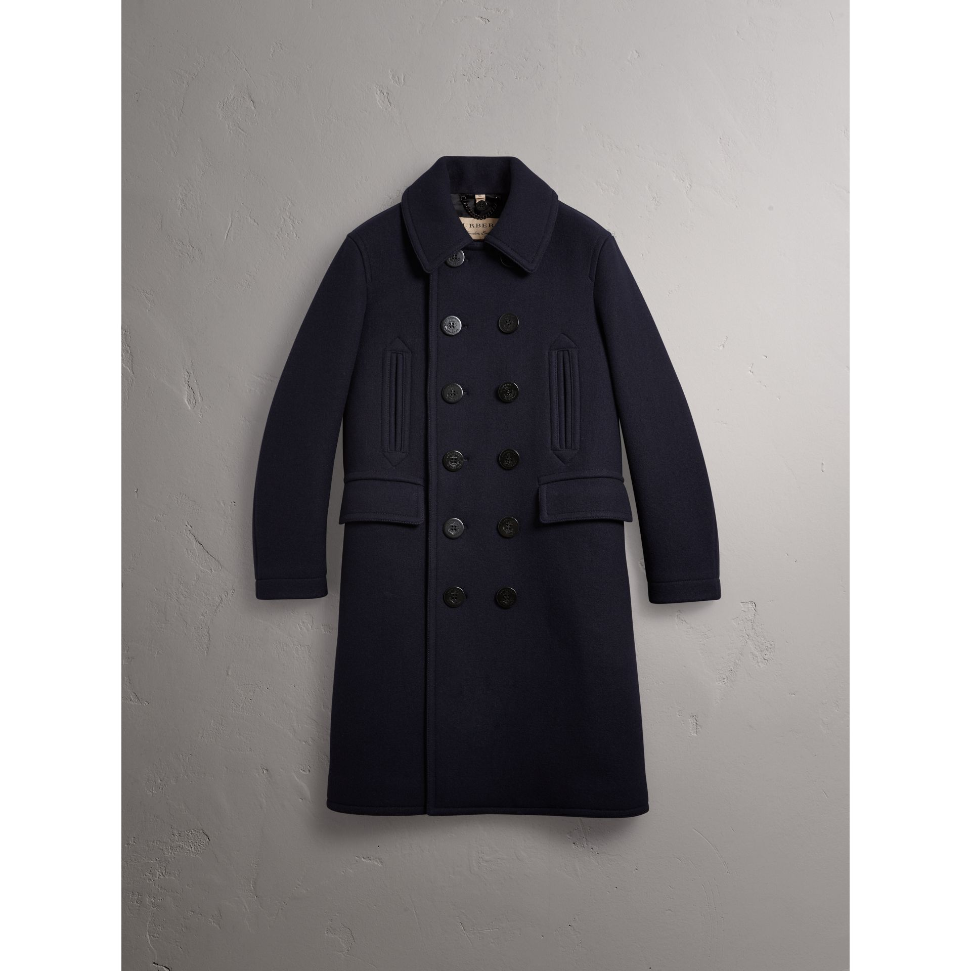 Wool Blend Double-breasted Coat in Navy - Men | Burberry Australia - gallery image 3