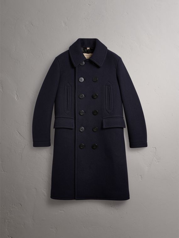 Wool Blend Double-breasted Coat in Navy - Men | Burberry Australia - cell image 3