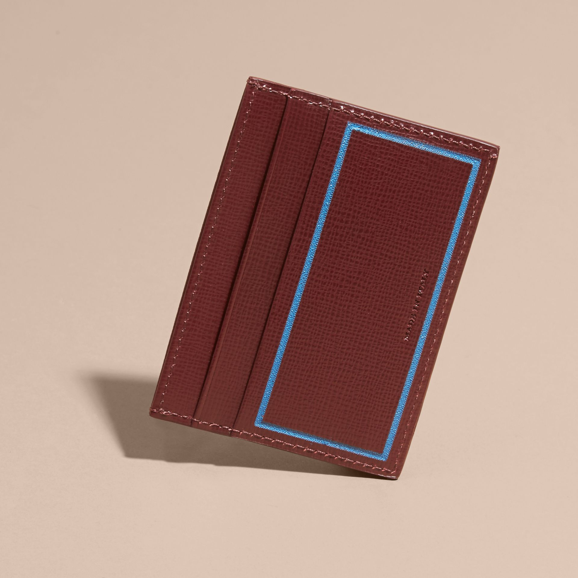 Border Detail London Leather Card Case in Burgundy Red - gallery image 3