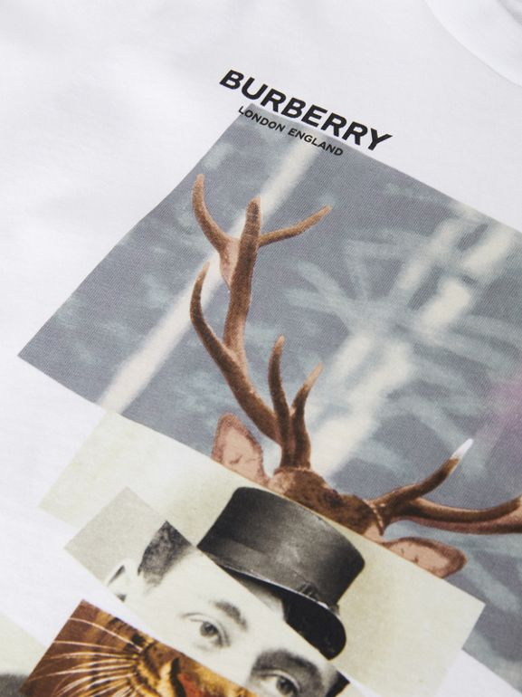 Collage Print Cotton T-shirt in White | Burberry - cell image 1